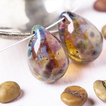 12*18mm Picasso Teardrop Beads - Czech Picasso Beads- Large Drop Beads- Briolette Beads- Pear Beads- 2 pcs- 3831