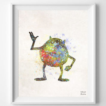 Monsters inc Poster, Mike Wazowski Print Watercolor, Disney Art, Nursery Illustration, Giclee Wall, Kid, Comic, Baby Room Decor [NO 281]