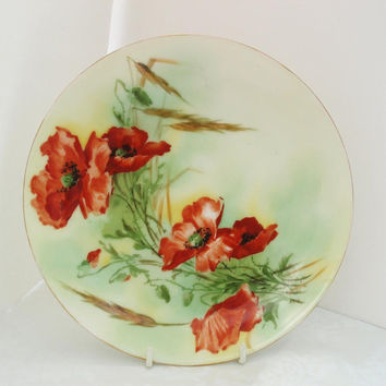 Red Orange Plate  Antique Porcelain  Antique Cabinet Plate  Bavaria Plate  Red Orange Roses  Decorative Wall Plate