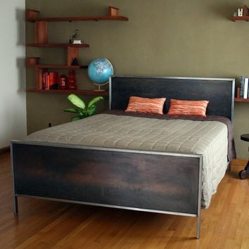 Steel Panel Bed  Platform Queen Size by deliafurniture on Etsy