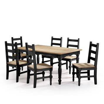 Jay 7-Piece Solid Wood Dining Set with 6 Chairs and 1 Table in Black Wash