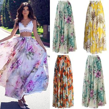 High waist boho print HIRIGIN Long Skirt Women maxi skirt floral print beach skirt Female chic vintage 2017 summer skirt
