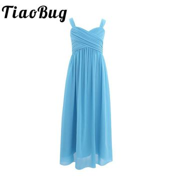 TiaoBug Summer Kids  Girls Teenager Bridesmaid Dress Princess Pageant Formal Party Dress Girls Children Clothes Long Maxi Dress