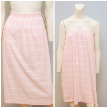 Vintage 70's/80's NWT Deadstock Jantzen Elastic Waist Pink White Striped Cotton Midi Skirt Sz 10 Medium with Pockets Pastel Light Pink Retro