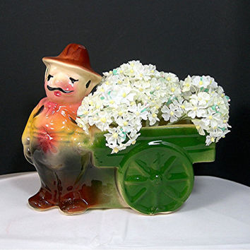 Shawnee Flower Vendor Planter, Pottery, Mustachioed Italian Man with Wagon, Marked with S, Vintage c1940s Collectible, Home Decor
