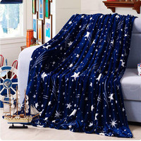 High Density Super Soft Flannel Blanket to on for the sofa bed textile cute plush wool fluffy blue green stars boys blanket