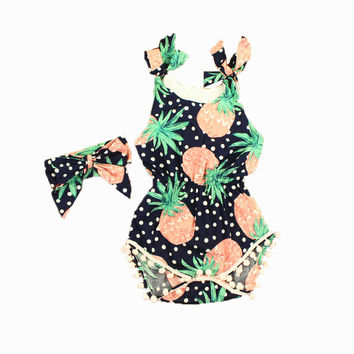 Baby Rompers with Headband baby girl clothes