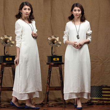 loose fitting caftan dress, silk linen long dress, white dress