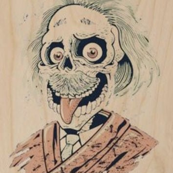 'E=mc2' Albert Einstein Skeleton Skull w/ Hair & Mustache Funny Humor - Plywood Wood Print Poster Wall Art