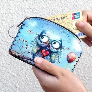 New graffiti cat elephant owl coin purse,Change purse card holder Handmade Hem wallets purse women clutch zipper coins bag pouch