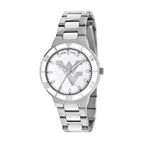 Game Time Pearl Series West Virginia Mountaineers Stainless Steel & White Ceramic Mother-of-Pearl Watch - COL-PEA-WVU - Women (Grey)