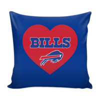 Buffalo Bills Simple Heart Pillow Cover (Free Shipping)