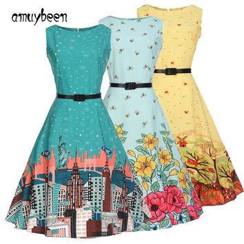 Dresses Cartoon Print Dress Summer Sundress Sashes Floral Christmas Tree Women Evening Festa Folk Tunic Knee Length Summer Dress