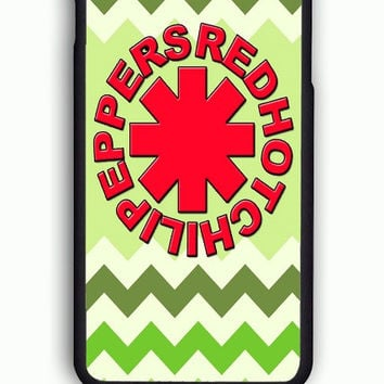 iPhone 6S Case - Hard (PC) Cover with Red Hot Chili Peppers Green Chevron Plastic Case Design