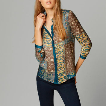 Totem Print Collared Sleeve Chiffon Blouse