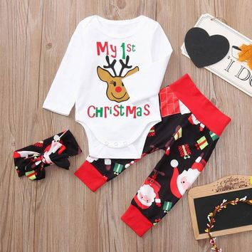 Newborn Baby Christmas Clothes Deer Boys Cloth Letter Print Romper+Pants+Headband Clothing Set Clothes Exquisite Costumes Sets