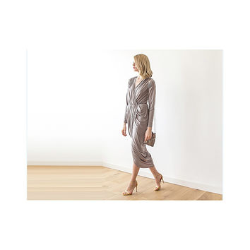 Taupe long sleeve Wrap Maxi Dress