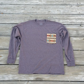 Navajo Aztec Tribal Light Brown Pocket Tee Long Sleeve
