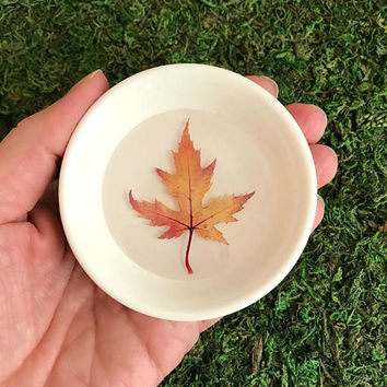 Autumn Leaf Ring Dish, pressed leaves trinket jewelry holder tray purple flowers bridesmaid fall wedding gift for her wife girlfriend