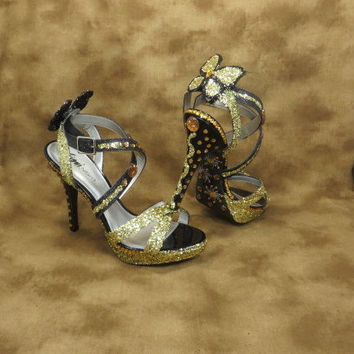 Wedding Shoes - Butterflies - Black And Gold - High Heels - Bridal Shoes - Butterfly Wedding - Black Wedding - Gold Wedding - Accessorie