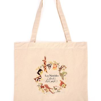 Les Néréides Les Nereides Loves Animals Canvas Tote