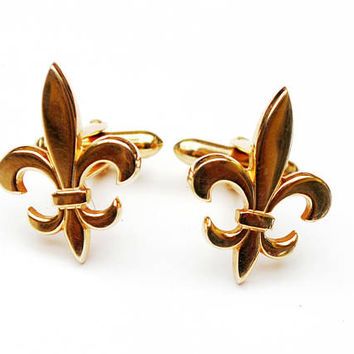 Swank Gold Fleur de lis  Cuff links -  Gold brass - figurine Cufflinks
