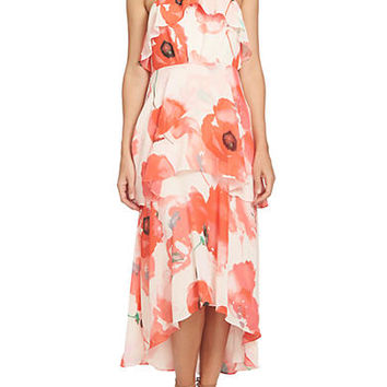 CeCe Watercolor Poppy Tiered Dress