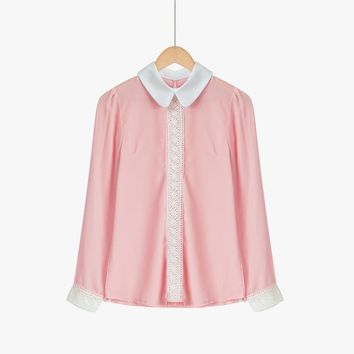 Blusas Femininas Spring Women Solid Pink White Chiffon Blouse Cute Shirt Peter Pan Collar Puff Sleeve Patchwork