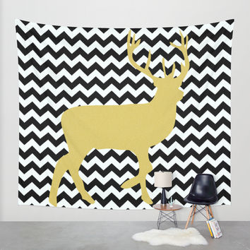 Golden Deer in black and white chevron Wall Tapestry by Haroulita