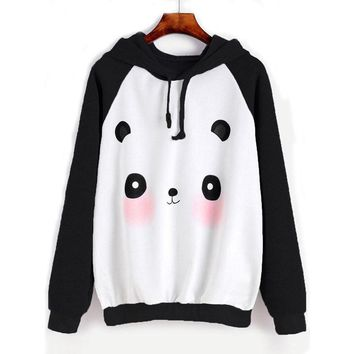 Panda Hoodie - Women Cartoon Long Sleeve Hoodie Pullover Sweatshirt Sweater Casual Hooded Top