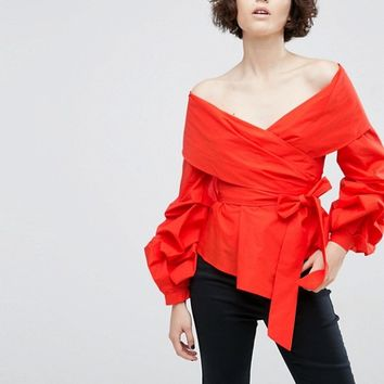 ASOS WHITE Off Shoulder Wrap Shirt at asos.com