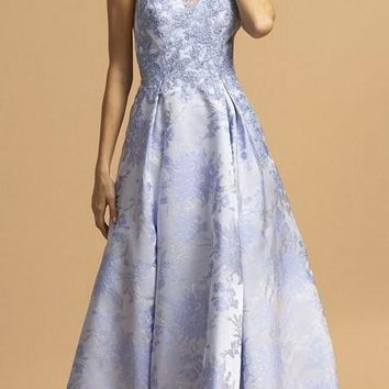 Printed Long Prom Dress Perry Blue with Pockets