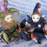 Pair of Harlequin Clowns Dressed in Colorful Satin  porcelain faces and hands