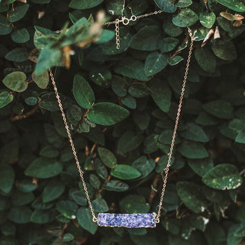 Purple Druzy Bar Necklace