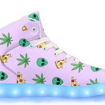 Alien, Pizza, Weed - APP Controlled High Top LED Shoes