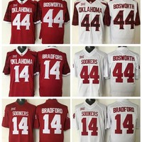 Oklahoma Sooners College 14 Sam Bradford Jersey Team Color Red White 44 Brian Bosworth Football Jerseys All Stitched Fashion Breathable