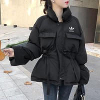 """Adidas"" Women Loose Fashion Solid Color Drawstring Long Sleeve Upright Neck Cotton-padded Clothes Coat"