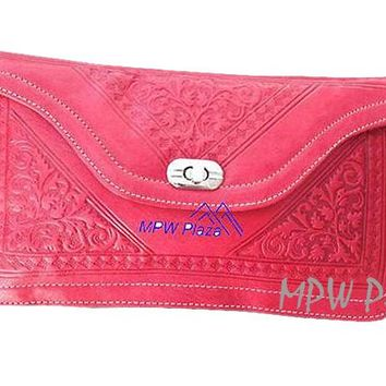 Moroccan Leather clutch bag - Red