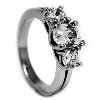 2.50 Carat TCW Stainless Steel Engagement Ring with Cubic Zirconia Sizes 6 to 9