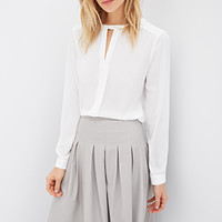 Faux Leather Box-Pleat Skirt
