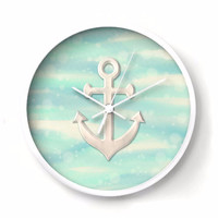 Nautical Wall Clock - Anchor on aqua and sand seascape background