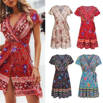 CHSM Summer Bohemian Floral Mini Dress Women Music Festival Short Dress