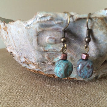 Turquoise Dangle Earrings, Silver Turquoise Earrings, Silver Earrings