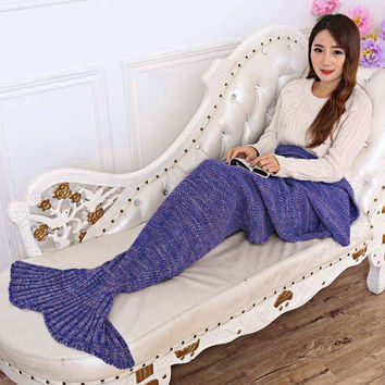 7 Colors Yarn Handmade Crochet Knitted Mermaid Tail Blanket Super Soft