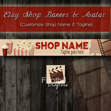 Etsy Shop Banner and Matching Avatar - Premade Hollywood Movies - Soda and Popcorn - Cinema - Customize Shop Name - Graphic Design - Theater