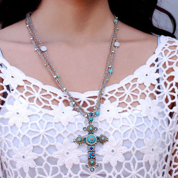Cross Necklace, Religious Necklace, Cross Pendant, Faith Necklace, Christian Necklace, Multi Strand Necklace, Gypsy Necklace, Communion N348