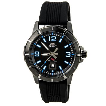 Orient UNE9007B Men's SP Black IP Steel Blue Accent Black Dial Rubber Strap Watch