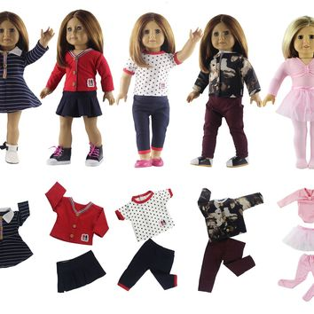 Hot 5 Set Doll Clothes New Style for 18'' American Girl Doll Princess Dress Ballet Skirt