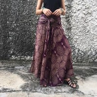 Hippie Unique Maxi Skirt Dress Boho Gypsy Bohemian Chic style Coconut Buckle Beach Summer Festival Coachella casual Paisley Women gift