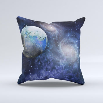 Foreign Vivid Planet Ink-Fuzed Decorative Throw Pillow